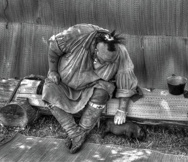 Photograph - Piglet At The Powwow Monochrome by Wayne King