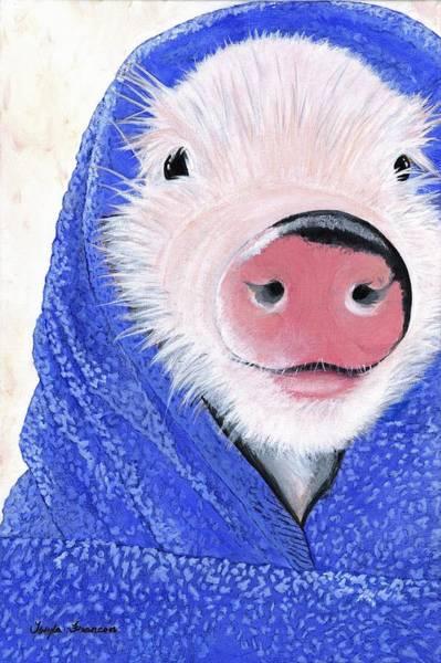 Blanket Painting - Piglet In A Blanket by Twyla Francois