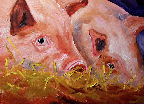 Wall Art - Painting - Piglet Pair by Nancy Merkle