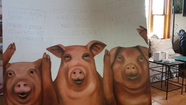Painting - Pigs On Strike Work In Progress by Leah Saulnier The Painting Maniac