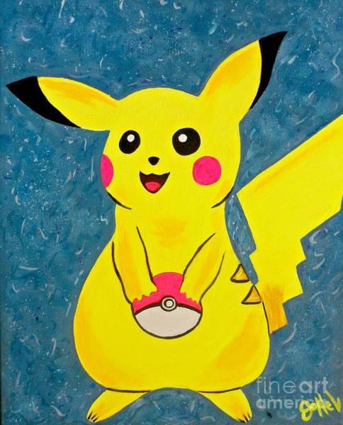 Pokes Wall Art - Painting - Pikachu by JoNeL Art