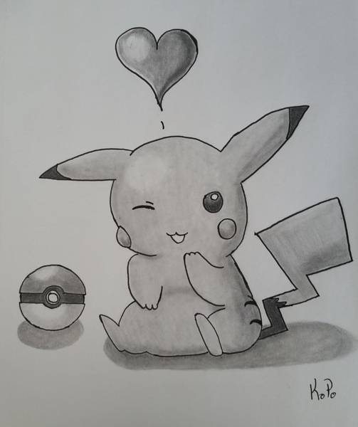 Pokemon Drawing - Pikachu by Kitty Perkins