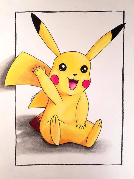 Pokemon Drawing - Pikachu by Thomas Volpe