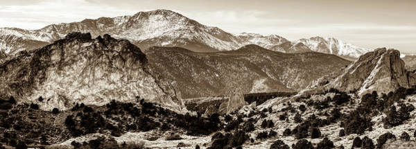 Photograph - Pikes Peak Mountain Panorama - Colorado Springs In Sepia by Gregory Ballos