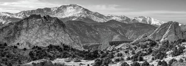 Photograph - Pikes Peak Panorama - Garden Of The Gods - Colorado Springs - Black And White by Gregory Ballos