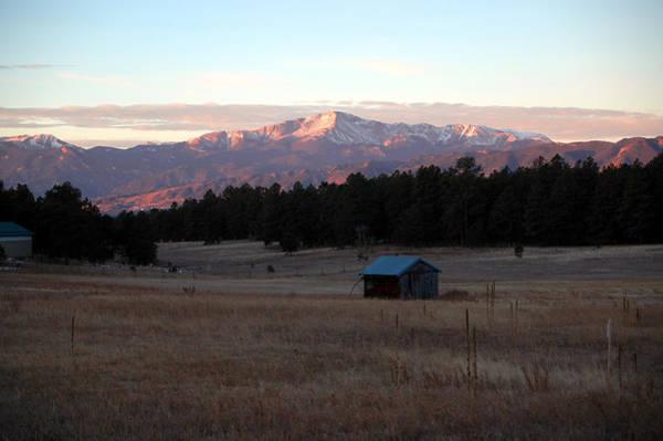 Pikes Peak Painting - Pikes Peak Sunrise by Dennis  Rundlett