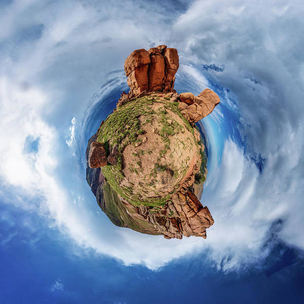 Photograph - Pikes Peak Tiny Planet #1 by Chris Bordeleau