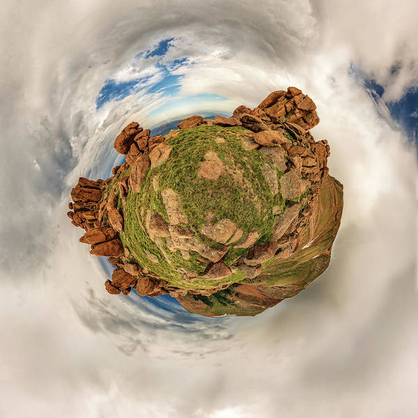 Photograph - Pikes Peak Tiny Planet #2 by Chris Bordeleau