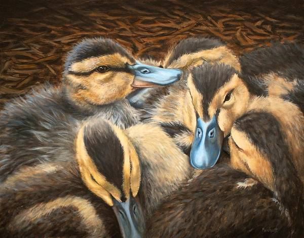 Painting - Pile O' Ducklings by Linda Merchant
