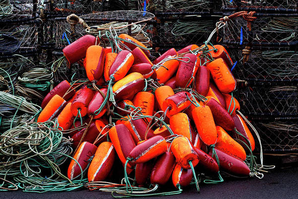 Wall Art - Photograph - Pile Of Crabpots And Fishnet Buoys Orange And Red by Carol Leigh