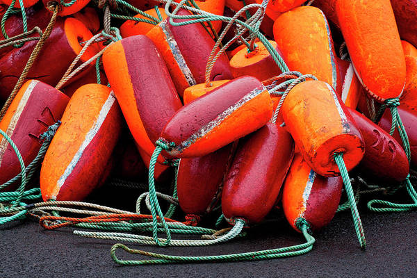 Wall Art - Photograph - Pile Of Fishnet Buoys Orange And Red by Carol Leigh