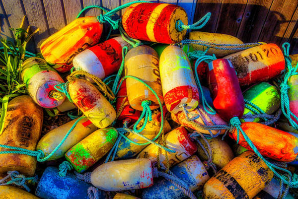 Crabbing Photograph - Pile Of Lobster Buoys by Garry Gay