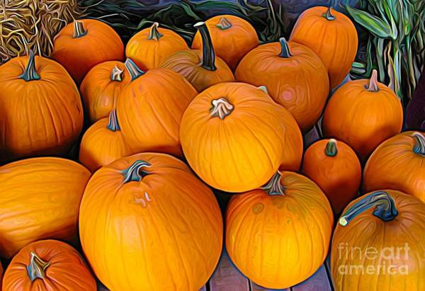 Photograph - Pile Of Pumpkins For Sale Expressionist Effect by Rose Santuci-Sofranko