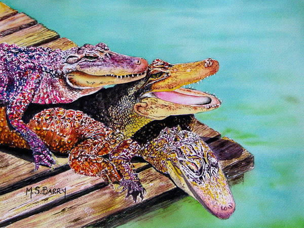 Gators Wall Art - Painting - Pile Up by Maria Barry