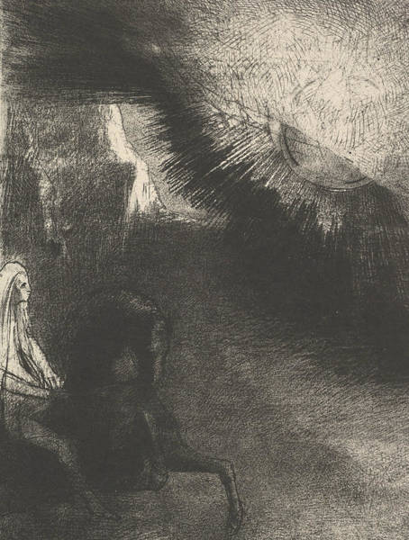Relief - Pilgrim From A Sublunar World by Odilon Redon