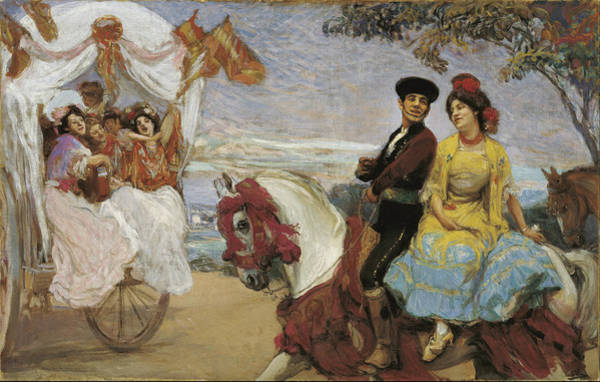 Beauty Salon Painting - Pilgrimage Ca. 1915 by Gonzalo Bilbao
