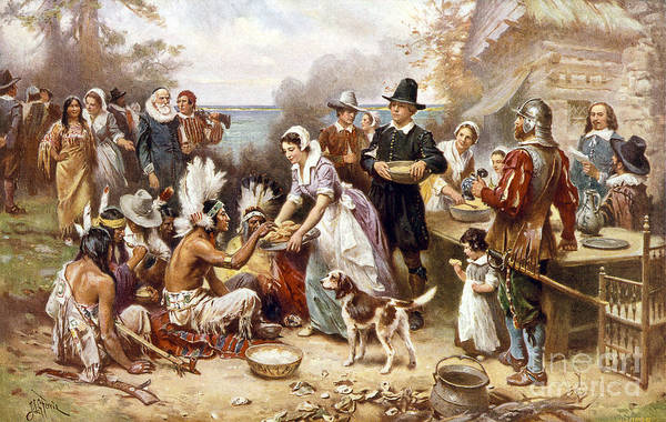 Photograph - Pilgrims: Thanksgiving, 1621 by Granger