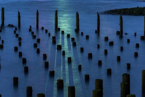 Photograph - Pilings And Ship Light by Robert Potts