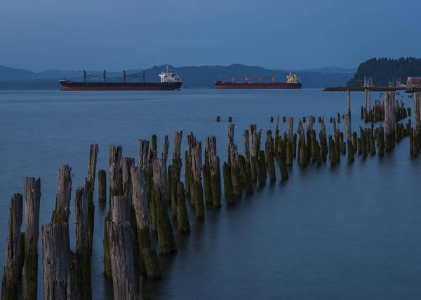 Photograph - Pilings And Ships At Dusk by Robert Potts