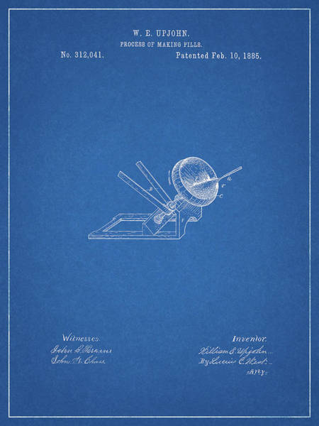 Drawing - Pill Making Patent by Dan Sproul