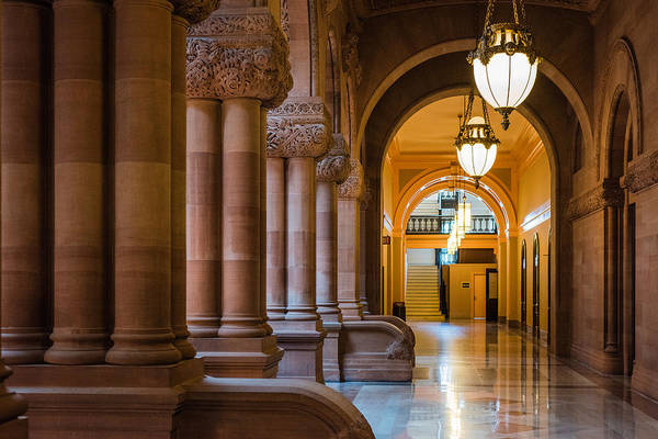 Photograph - Pillar Hallway by Brad Wenskoski