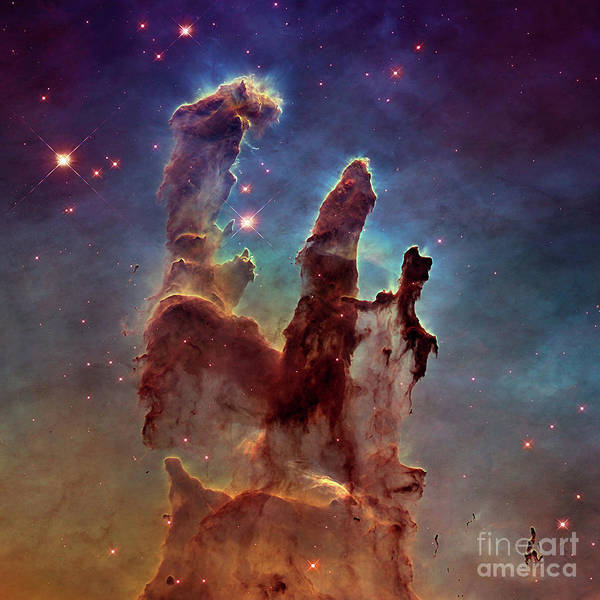Turqoise Photograph - Pillars Of Creation, Eagle Nebula, Space Exploration by Tina Lavoie