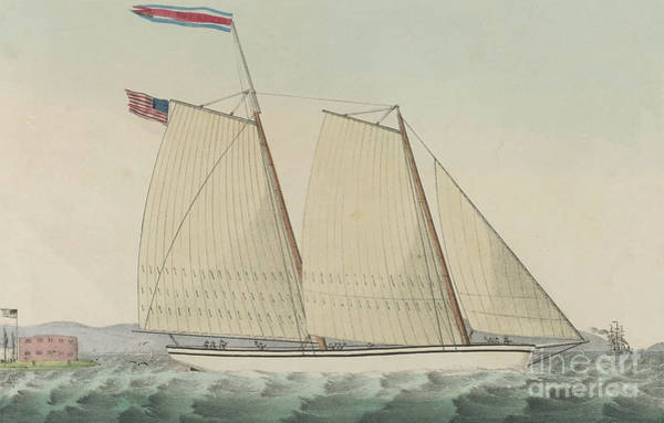 Wall Art - Drawing - Pilot Boat William J. Romer, Captain Mcguire, Leaving For England February 9th 1846  by Currier and Ives