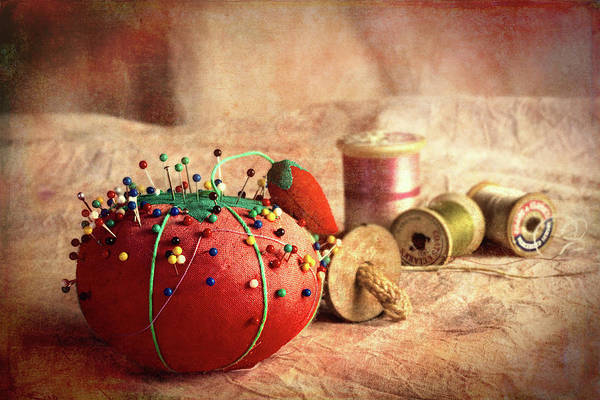 Sewing Wall Art - Photograph - Pin Cushion And Wooden Thread Spools by Tom Mc Nemar