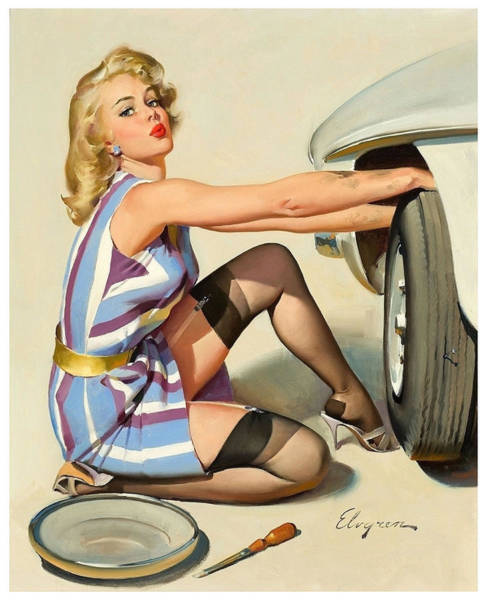 Wall Art - Painting - Pin Up Blond Changing A Tire by Long Shot