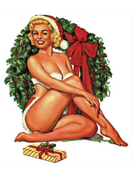 Wall Art - Painting - Pin-up Calendar Girl In Front Of Christmas Wreath by Long Shot