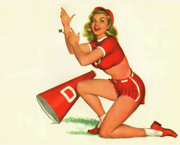 Wall Art - Painting - Pin Up Cheerleader Woman Supporting Her Team by Long Shot