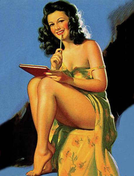 Wall Art - Painting - Pin Up Dark Hair Woman With Great Legs Is Taking A Notes From You by Long Shot