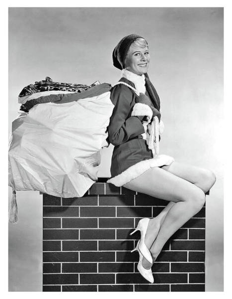 Wall Art - Photograph - Pin-up Elf Girl On Chimney by Long Shot