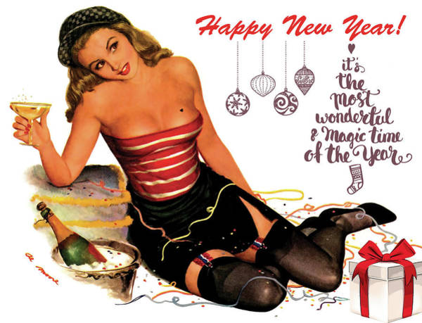 Wall Art - Painting - Pin Up Girl Celebrating New Year With Champagne by Long Shot