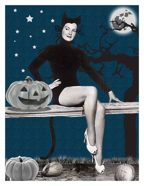 Full Moon Mixed Media - Pin Up Girl In Halloween Costume by Long Shot