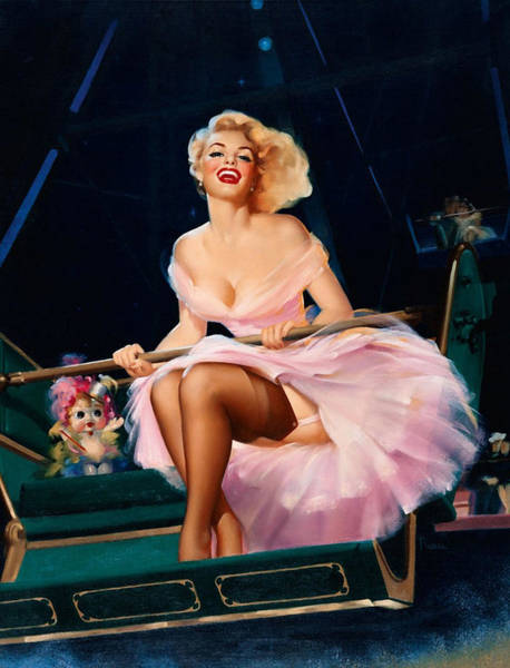 Long Dress Painting - Pin Up Girl In Pink Dress On A Ferris Wheel by Long Shot