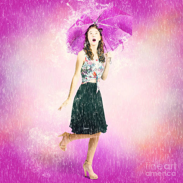 Bad Hair Wall Art - Photograph - Pin-up Girl In Rain Downfall. Hop Skip And Jump by Jorgo Photography - Wall Art Gallery