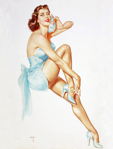 Long Dress Painting - Pin Up Girl In Sexy Dress Talking On The Phone by Long Shot
