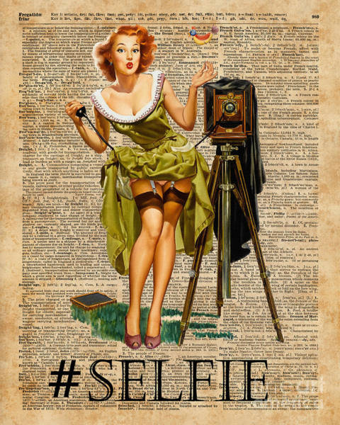 Wall Art - Digital Art - Pin Up Girl Making #selfie Vintage Dictionary Art by Anna W