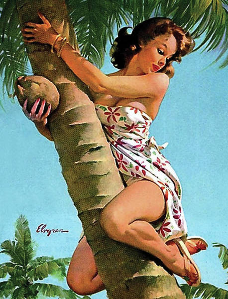 Wall Art - Painting - Pin Up Girl On A Palm by Long Shot
