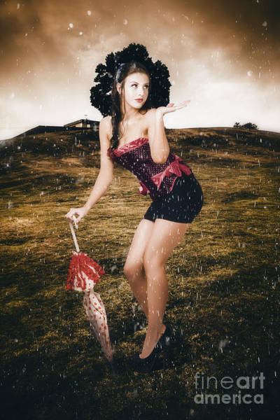 Grey Skies Wall Art - Photograph - Pin Up Girl Standing In Field Under Summer Rain by Jorgo Photography - Wall Art Gallery