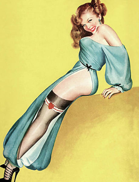 Long Dress Painting - Pin Up Girl With Great Legs And Loose Dress Smiling At Us by Long Shot