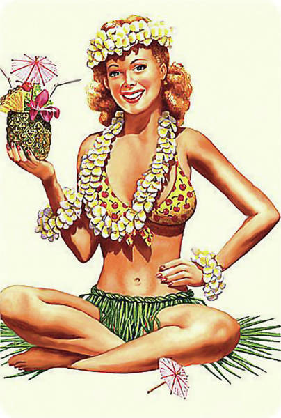 Hula Wall Art - Painting - Pin Up Hula Girl With Pineapple Cocktail by Long Shot