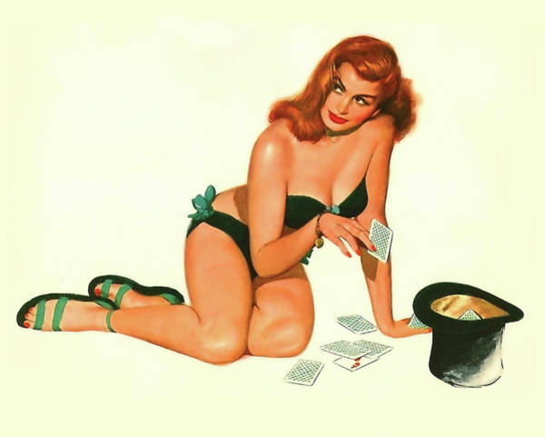 Wall Art - Painting - Pin Up Redhead Girl Playing With Cards And Cylinder by Long Shot