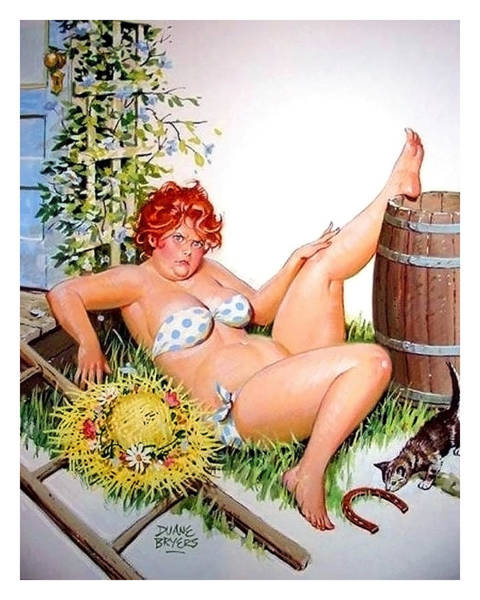 Accident Painting - Pin Up Redhead Woman Fell From Leders by Long Shot