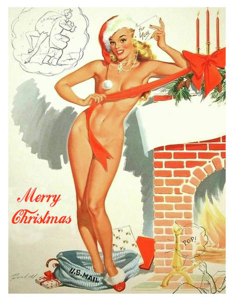 Wall Art - Painting - Pin Up Sexy Blond Girl As Christmas Present by Long Shot