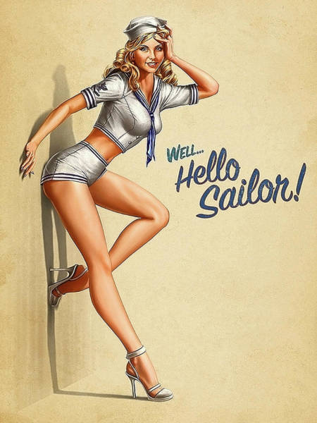 Hello Painting - Pin Up Sexy Blond Girl In Uniform, Hello Sailor by Long Shot