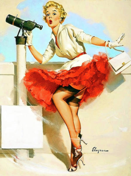 Wall Art - Painting - Pin Up Sexy Blond Girl Looking Through Spyglass by Long Shot