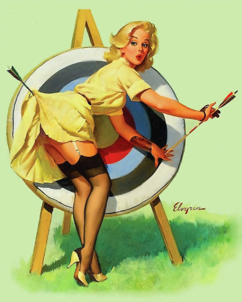 Wall Art - Painting - Pin Up Sexy Blond In Front Of The Target by Long Shot