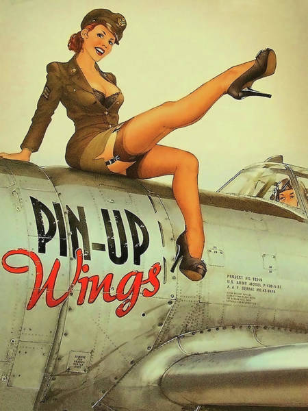 Wall Art - Painting - Pin Up Sexy Brunette Girl In Uniform Sitting On Airplane by Long Shot